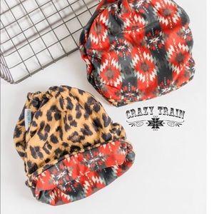 Crazy Train Bandito Bun Beanie - Leopard & Aztec